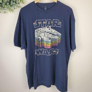 3/$20 Star Wars Millenium Falcon Rainbow Fade Tee